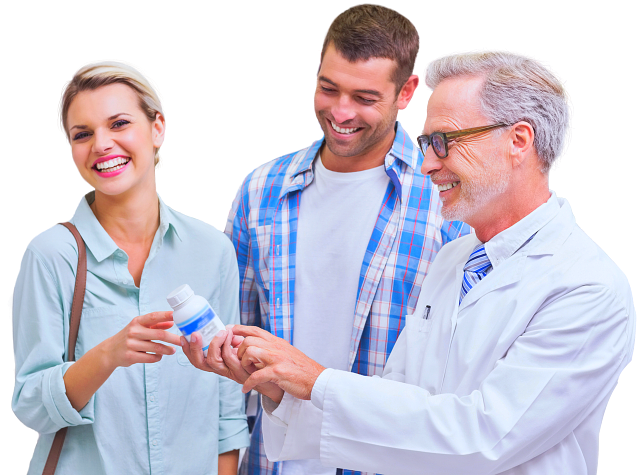 pharmacist happily assisting a couple of customers